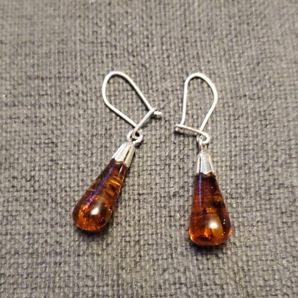 925 silver Amber earrings